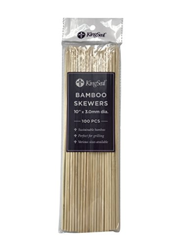 KingSeal Natural Bamboo Wood Skewers – 10 Inch Length, Master Case of 12/16/100 (19,200 pcs total)