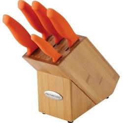 Rachael Ray Cutlery 6-Piece Japanese Stainless Steel Knife Block Set with Orange Handles