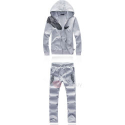 Hooded Print Color Block Mens Sport Suit