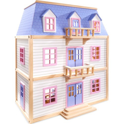 Melissa & Doug Modern Wooden Multi-Level Dollhouse, Multicolor