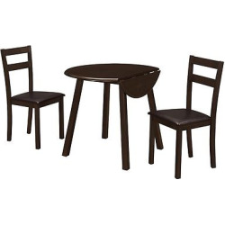 Dining Set – 3 Piece – Drop Leaf Table – Brown – EveryRoom