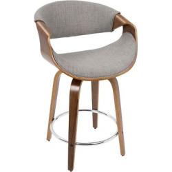 Curv-i 24 Mid – Century Modern Counter Stool (Set of 2) – Walnut Wood And Light Gray Fabric – Lumisource