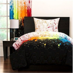 Crayola Cosmic Burst Comforter and Shams – Rainbow (Twin), Black Multicolored