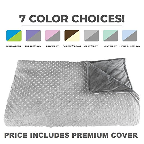 "Premium Weighted Blanket, Perfect Size 60"" x 80"" and Weight (12lb) for Adults and Children. Deluxe CALMFORTER(tm) Blanket Relieves Anxiety, Stress, Agitation, Insomnia. Price Includes Cover!"