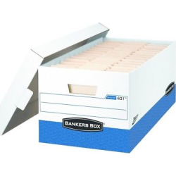 Bankers Box Presto Maximum Strength Storage Box, Legal 24, 15 x 24 x 10, WE, 12/Carton (0063201), Blue White