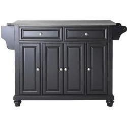 Cambridge Stainless Steel Top Kitchen Island – Black – Crosley