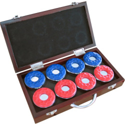 Hathaway Shuffleboard Pucks and Case Set, Brown