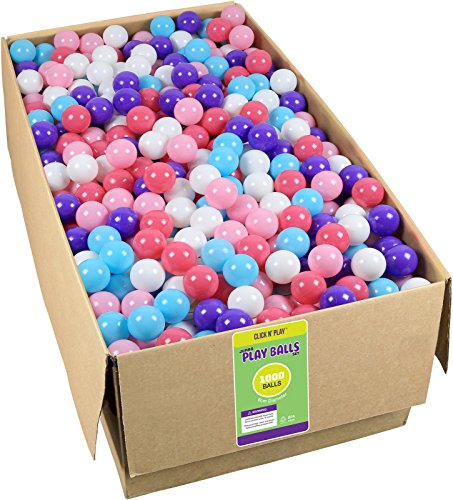 Click N Play Value Pack 1000 Phthalate Free BPA Free Crush Proof Plastic Ball, Pit Balls 5 Pretty Feminine Colors,Little Princess Edition