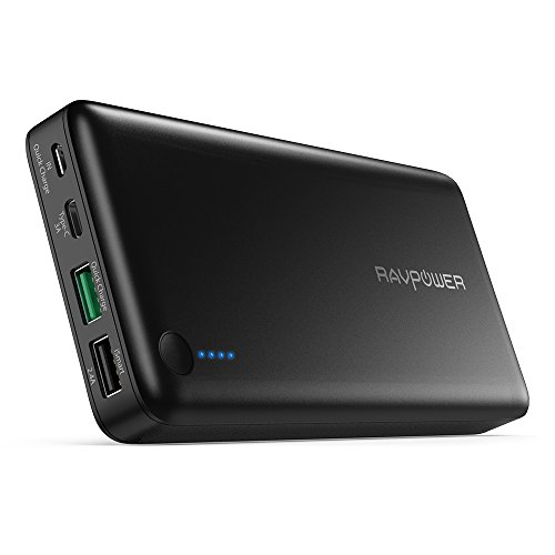 USB C Battery Pack RAVPower 20100 Portable Charger with QC 3.0 Qualcomm Quick Charge 3.0, 20100mAh Input & Output Type C Power Bank for Nintendo Switch, iPhone, 12-inch MacBook, Galaxy and More