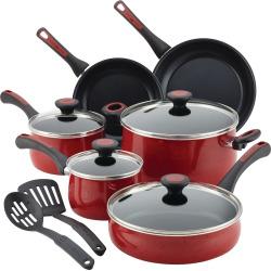 Paula Deen Riverbend 12-pc. Aluminum Nonstick Cookware Set, Red