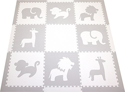 SoftTiles Foam Play Mat Safari Animals Premium Interlocking Foam Large Children's and Baby Playmat 78″ x 78″ (Light Gray, White) SCSAFWH