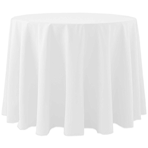 Ultimate Textile 10 Pack Cotton-feel 60-Inch Round Tablecloth – for Wedding and Banquet, Hotel or Home Fine Dining use, White