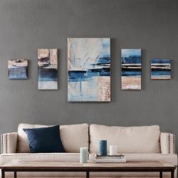 Madison Park Gel Coat Overseas Canvas Wall Art 5-pc. Set, Light Blue