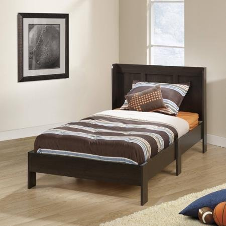 Sauder Parklane Twin Platform Bed with Headboard, Cinnamon Cherry – Guestroom Children's Bedroom Bed Set for Relaxed Sleeping – Engineered Wood Construction