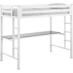 Premium Deluxe Twin Metal Loft Bed with Workstation – White – Saracina Home