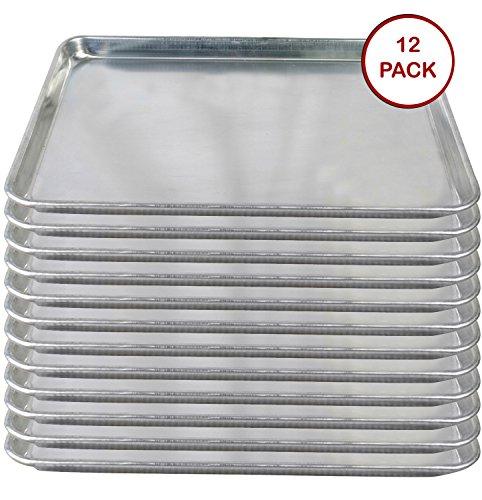 Tiger Chef Full Size Aluminum Sheet Pan – Commercial Bakery Equipment Cake Pans – NSF Approved 1 Dozen (12, 18″ x 26″ Full Size)