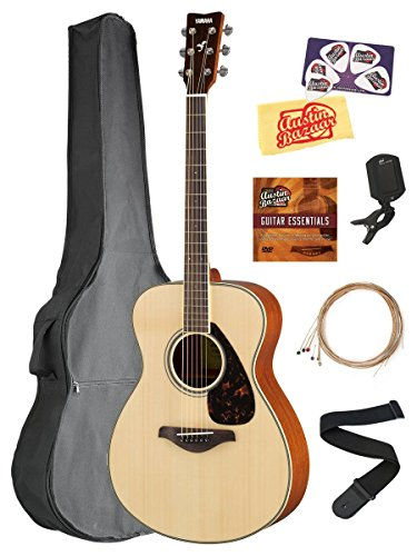 Yamaha FS820 Solid Top Small Body Acoustic Guitar – Natural Bundle with Gig Bag, Tuner, Strings, Strap, Picks, Austin Bazaar Instructional DVD, and Polishing Cloth