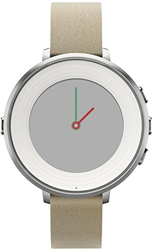 Pebble Time Round 14mm Smartwatch for Apple/Android Devices – Silver/Stone