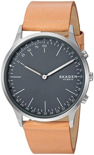 Skagen Jorn Stainless Steel and Leather Hybrid Smartwatch, Color: Silver-Tone, Tan SKT1200