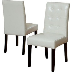 Roland Ivory Leather Dining Chairs – Ivory (Set of 2) – Christopher Knight Home