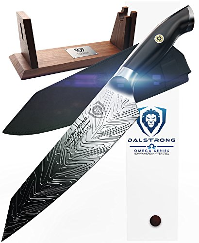 DALSTRONG Chef Knife – Omega Series – BD1N Nitrogen Steel – 8.5″ Kiritsuke – Collector Edition Set – Acacia Wood Stand – Sheath