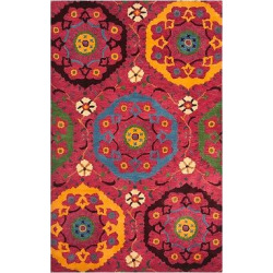 Red/Multicolor Abstract Tufted Area Rug – (4'X6′) – Safavieh, Red/Multi