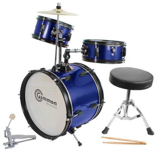 Blue Drum Set Complete Junior Kid's Children's Size with Cymbal Stool Sticks – Everything You Need to Start Playing