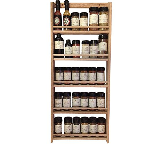 EmejiaSales Oak Spice Rack Wall Mount Organizer 5 Tier, Solid Oak Wood With Natural Finish, Seasoning Storage for Pantry and Kitchen – Holds 30 Herb Jars