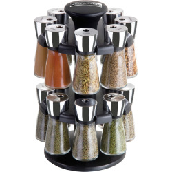 Cole and Mason 16-Jar Herb and Spice Rack Carousel, Black