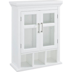 Avington Two Door Wall Cabinet with Cubbies ( 15 W x 10 D x 27 H ) White – Simpli Home