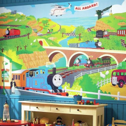 Thomas the Tank Engine Removable Wallpaper Mural, Multicolor
