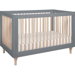 Babyletto Lolly 3-in-1 Convertible Crib with Toddler Rail – Gray/Washed Natural