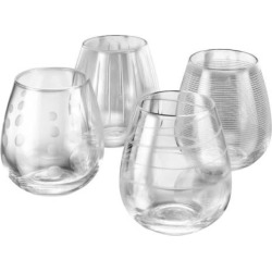 Mikasa Cheers 4-pc. Stemless Wine Glass Set, Multicolor