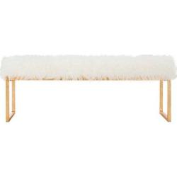 Etta Faux Curly Lamb Bench – White – Safavieh