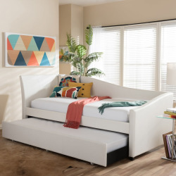Baxton Studio Vera Faux=Leather Upholstered Curved Twin Daybed & Trundle, White