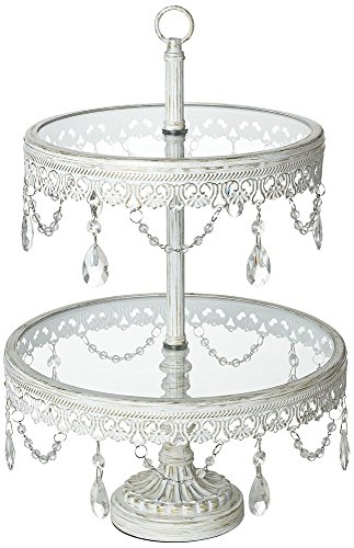 Jenny White Beaded 17″ High 2-Tier Cake or Cupcake Stand