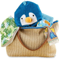 Baby Boy Baby Aspen Tropical Cover-up, Swim Trunks, Hat & Tote Gift Set, Blue