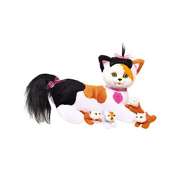 "Kitty Surprise Plush Calico Cat & Kittens – ""Maple"""