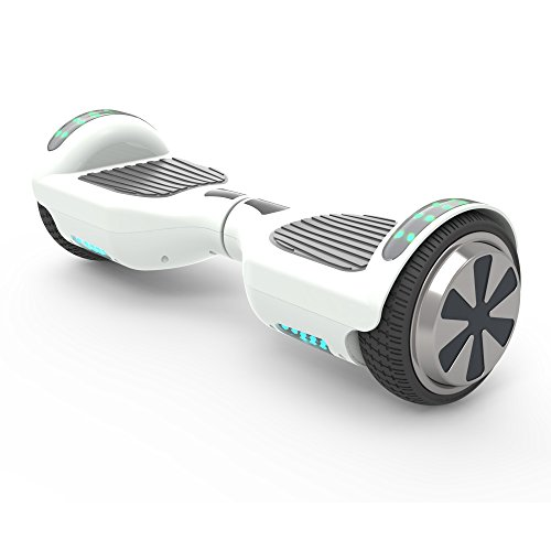 Hoverboard 6.5″ UL 2272 Listed Two-Wheel Self Balancing Electric Scooter with Top LED Light And Bluetooth Speaker (Whte)