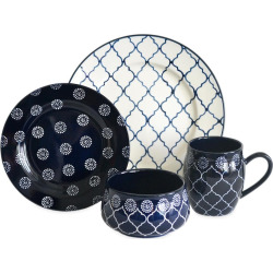 Baum Moroccan 16-pc. Dinnerware Set, Blue (Navy)