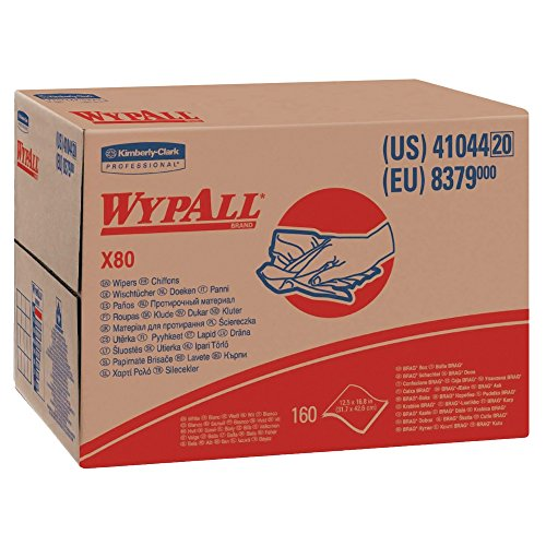 Wypall X80 Reusable Wipes (41044), Extended Use Cloths BRAG Box Format, White, 160 Sheets/Box; 1 Box/Case