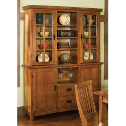 Arts and Crafts Dining Buffet and Hutch, Brown