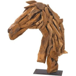 Decorative Horse Head on Stand, Buckskin