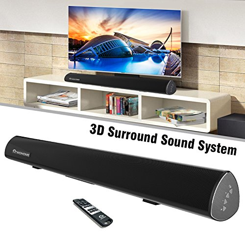 Soundbar, Wohome TV Sound Bar Wireless Bluetooth and Wired Home Theater Speaker System (38″, 6 Drivers, 80W, 3D Surround Sound,105dB Audio Output, Remote Control, Wall Mountable)