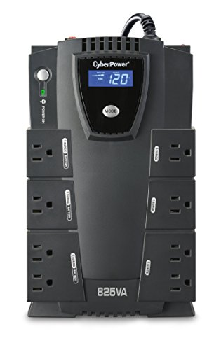 CyberPower CP825LCD Intelligent LCD UPS System, 825VA/450W, 8 Outlets, Compact
