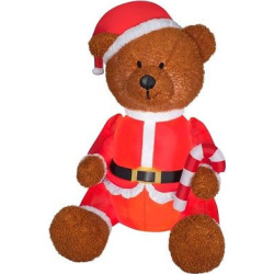 4.5ft Mixed Media Teddy Bear – National Tree Company, Red
