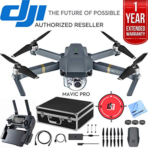 DJI Mavic Pro Quadcopter Drone with 4K Camera and Wi-Fi Premium Package With Spare Battery , Hard Case  , Filter Kit , Landing Pad , And One Year Warranty Extension