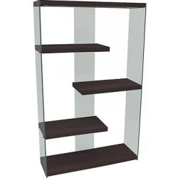 Hollow Core/Tempered Glass Bookcase – Brown – EveryRoom