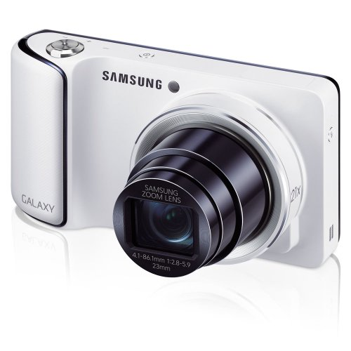 Samsung Galaxy Camera with Android Jelly Bean v4.1.2 OS, 16.3MP CMOS with 21x Optical Zoom and 4.8″ Touch Screen LCD, WiFi (White) (OLD MODEL)