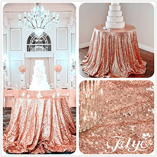196″ Round Sparkly Rose Gold Sequin Table Cloth Sequin Table Cloth, Cake Sequin Tablecloths, Sequin Linens for Wedding